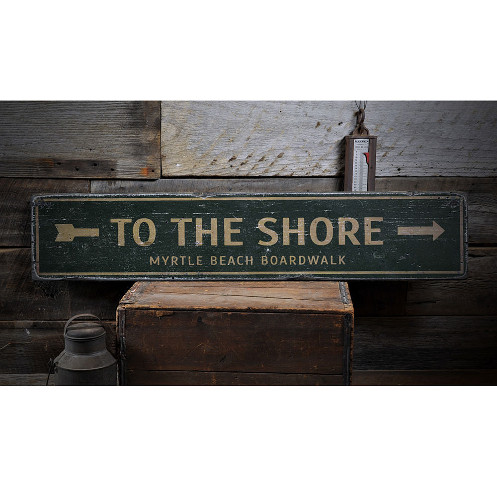 To the Shore Arrow Vintage Wood Sign