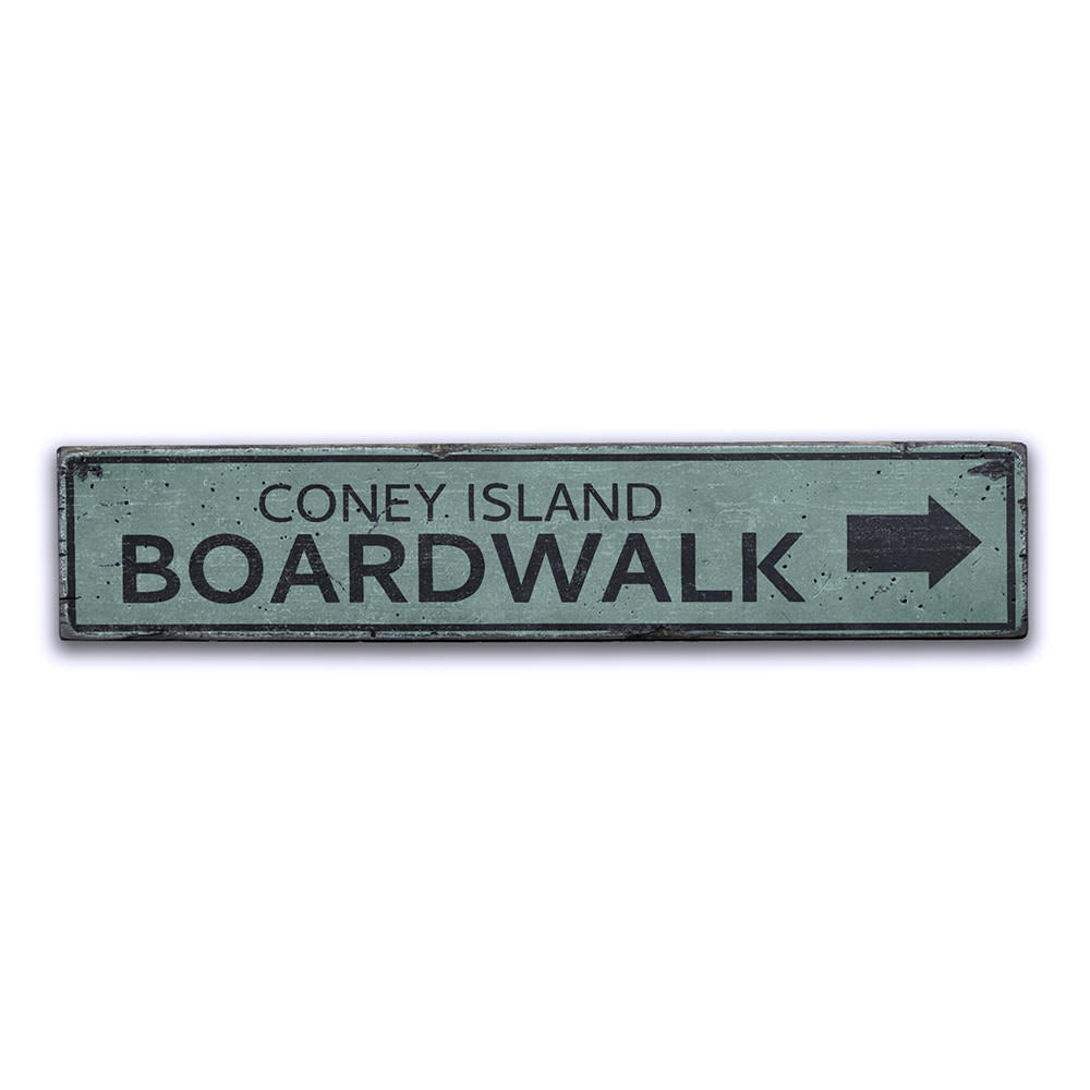 Boardwalk Location Arrow Vintage Wood Sign