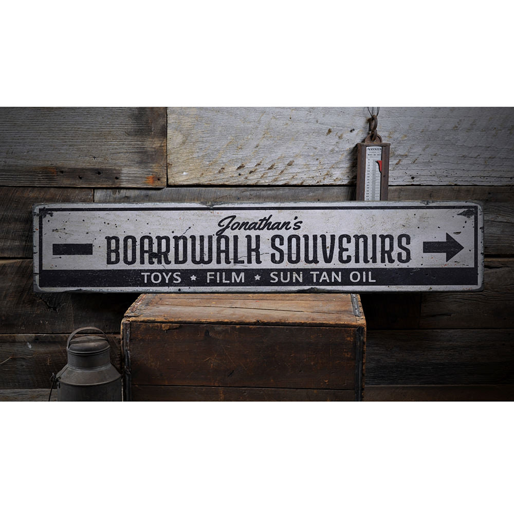 Boardwalk Souvenirs Vintage Wood Sign