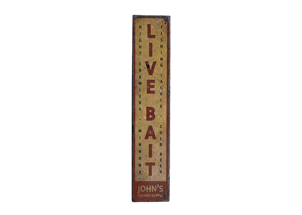 Live Bait Vertical Rustic Wood Sign