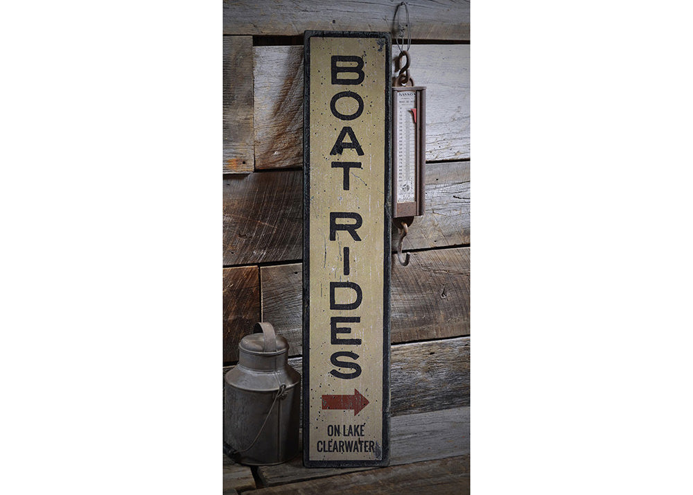 Boat Rides Vertical Rustic Wood Sign