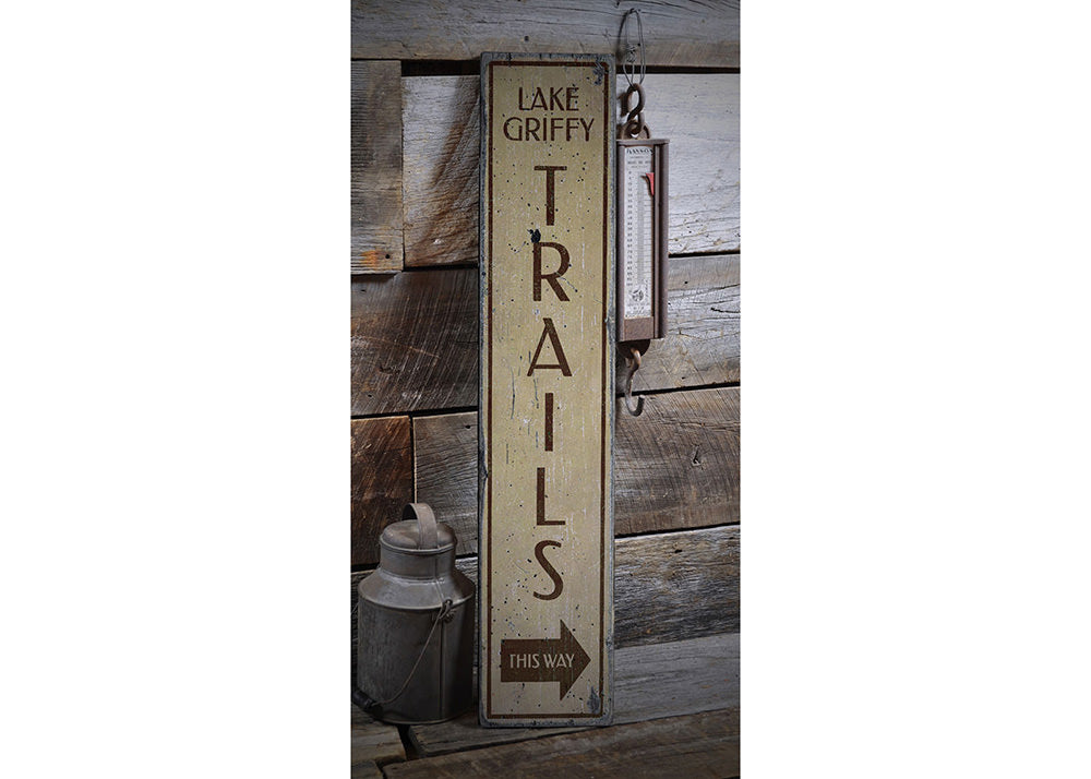 Trails This Way Vertical Rustic Wood Sign