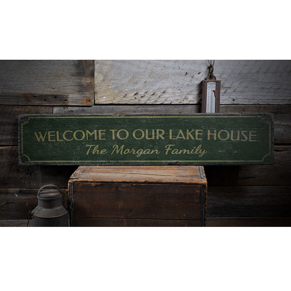 Welcome Family Name Lake House Vertical Vintage Wood Sign
