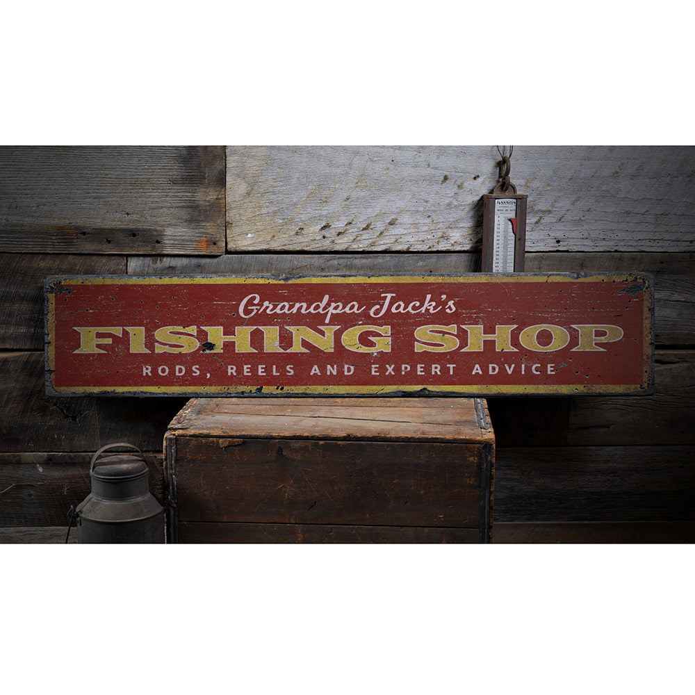 Fishing Shop Vintage Wood Sign
