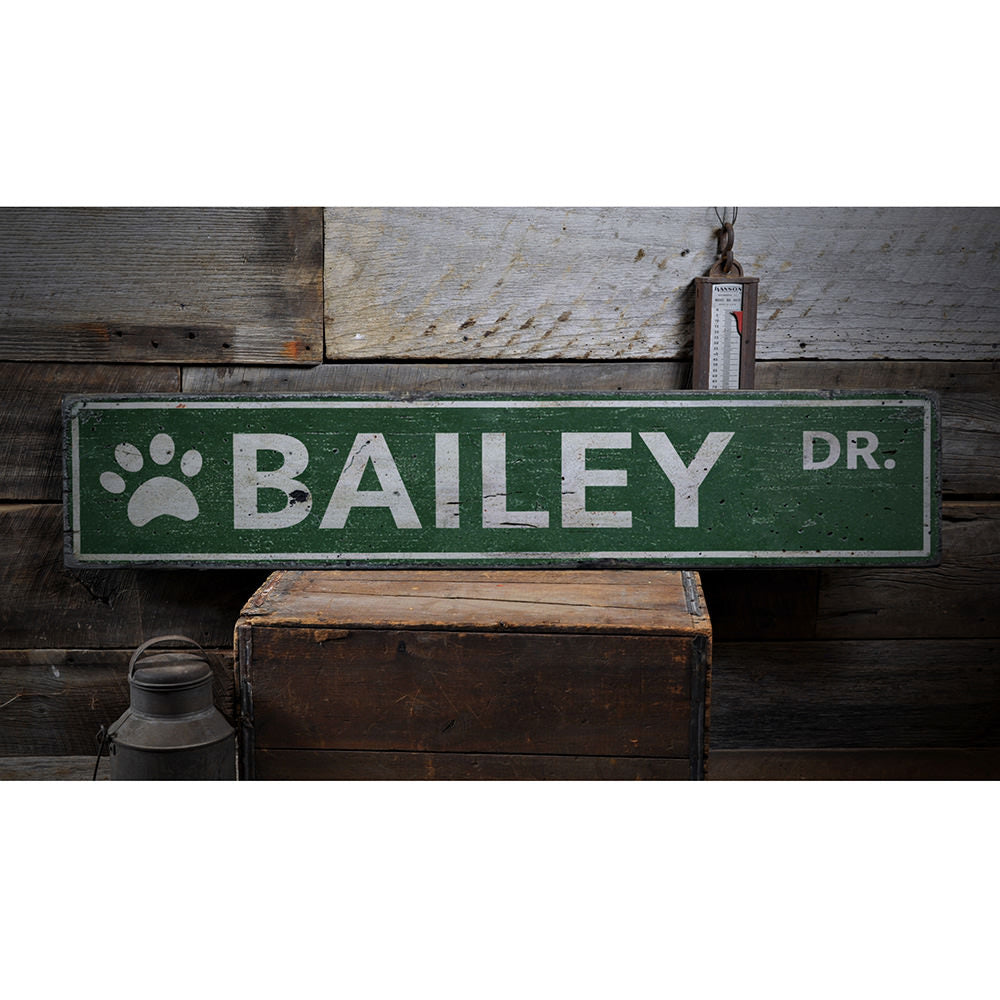 Pet Name Street Vintage Wood Sign