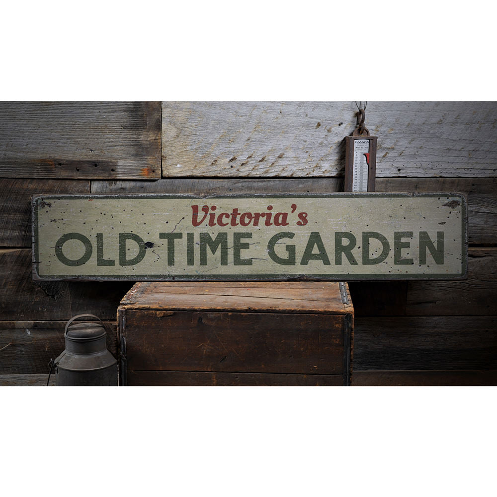 Old Time Garden Vintage Wood Sign