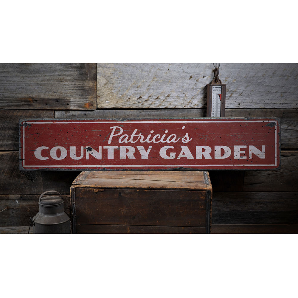Country Garden Vintage Wood Sign