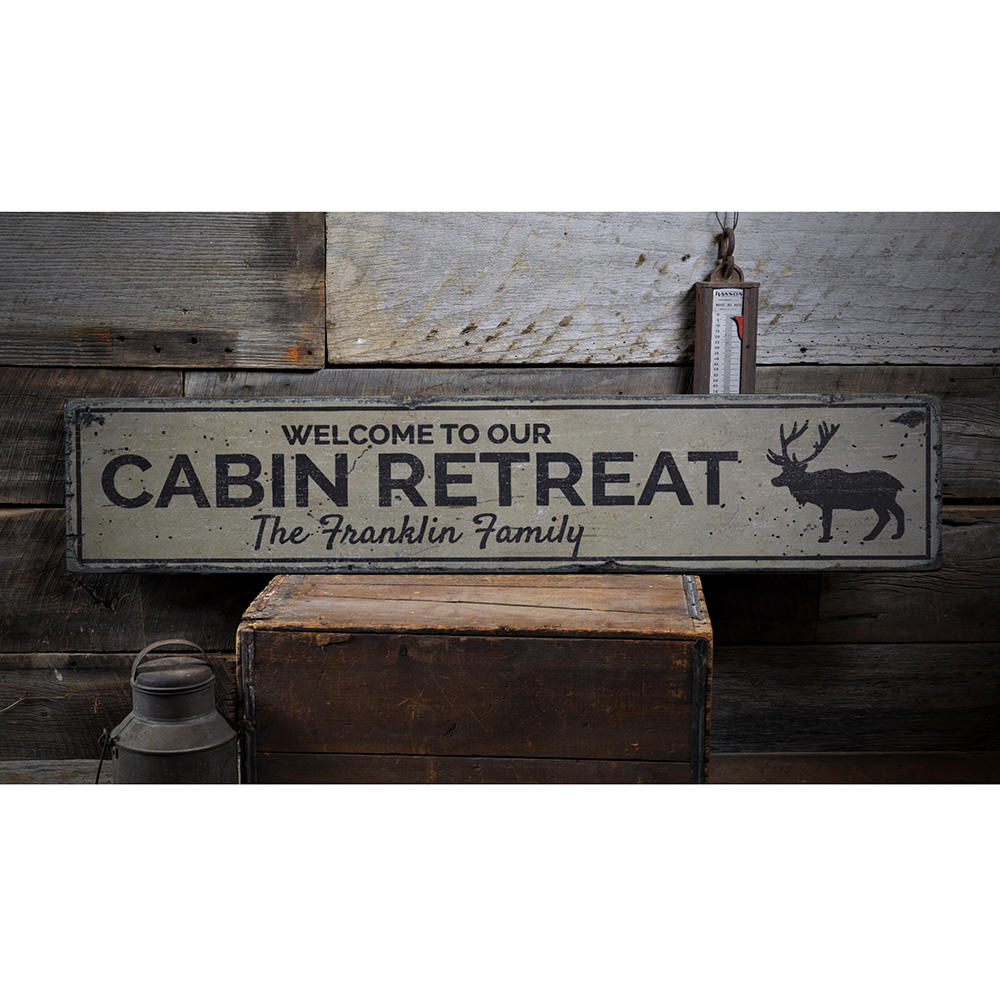 Cabin Retreat Vintage Wood Sign