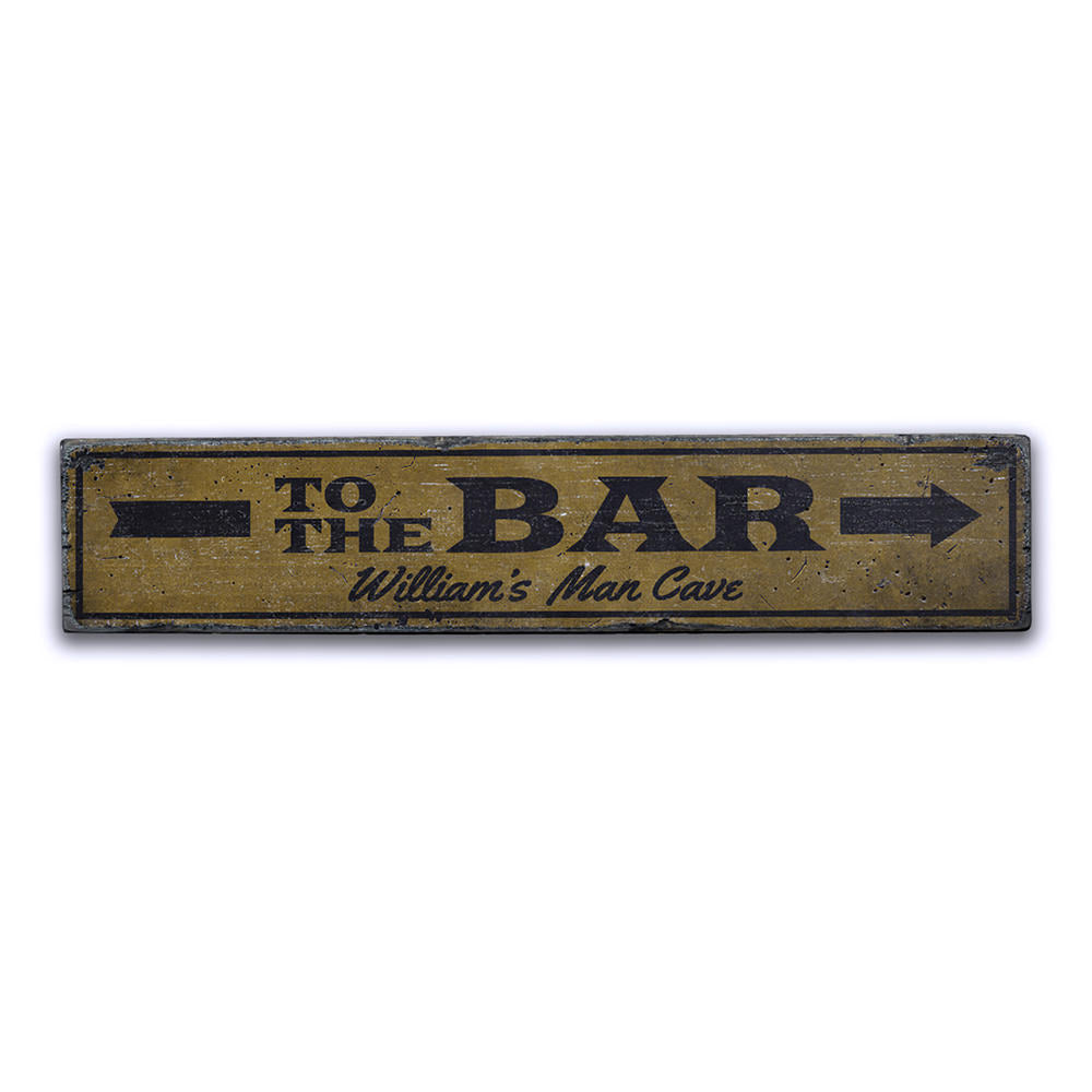 To the Bar Arrow Vintage Wood Sign