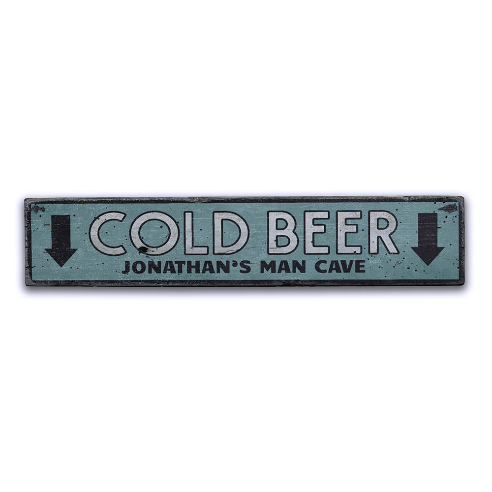 Cold Beer Arrows Vintage Wood Sign