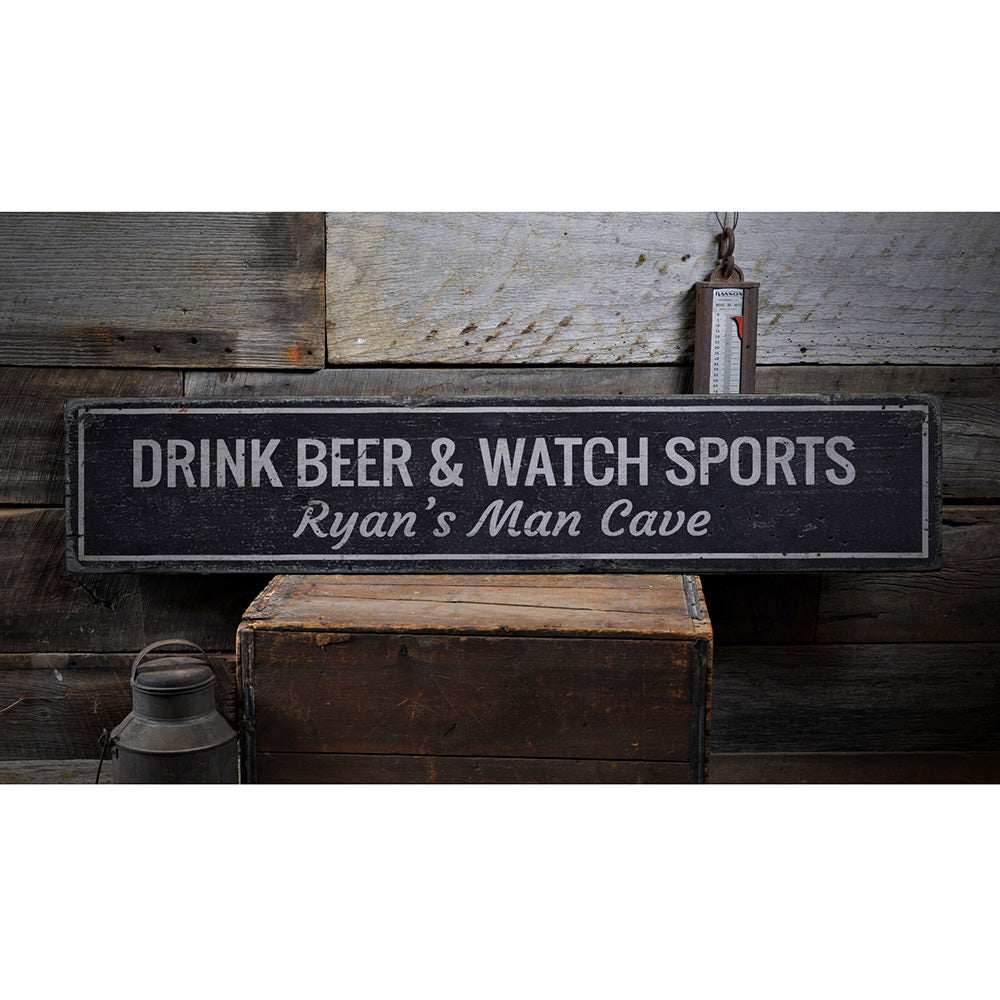 Drink Beer & Watch Sports Vintage Wood Sign
