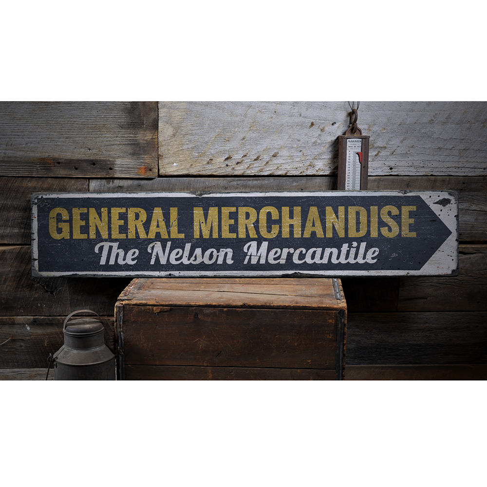 General Merchandise Vintage Wood Sign