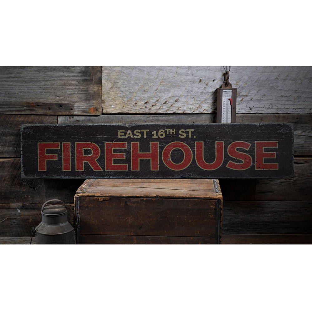 Firehouse Street Name Vintage Wood Sign