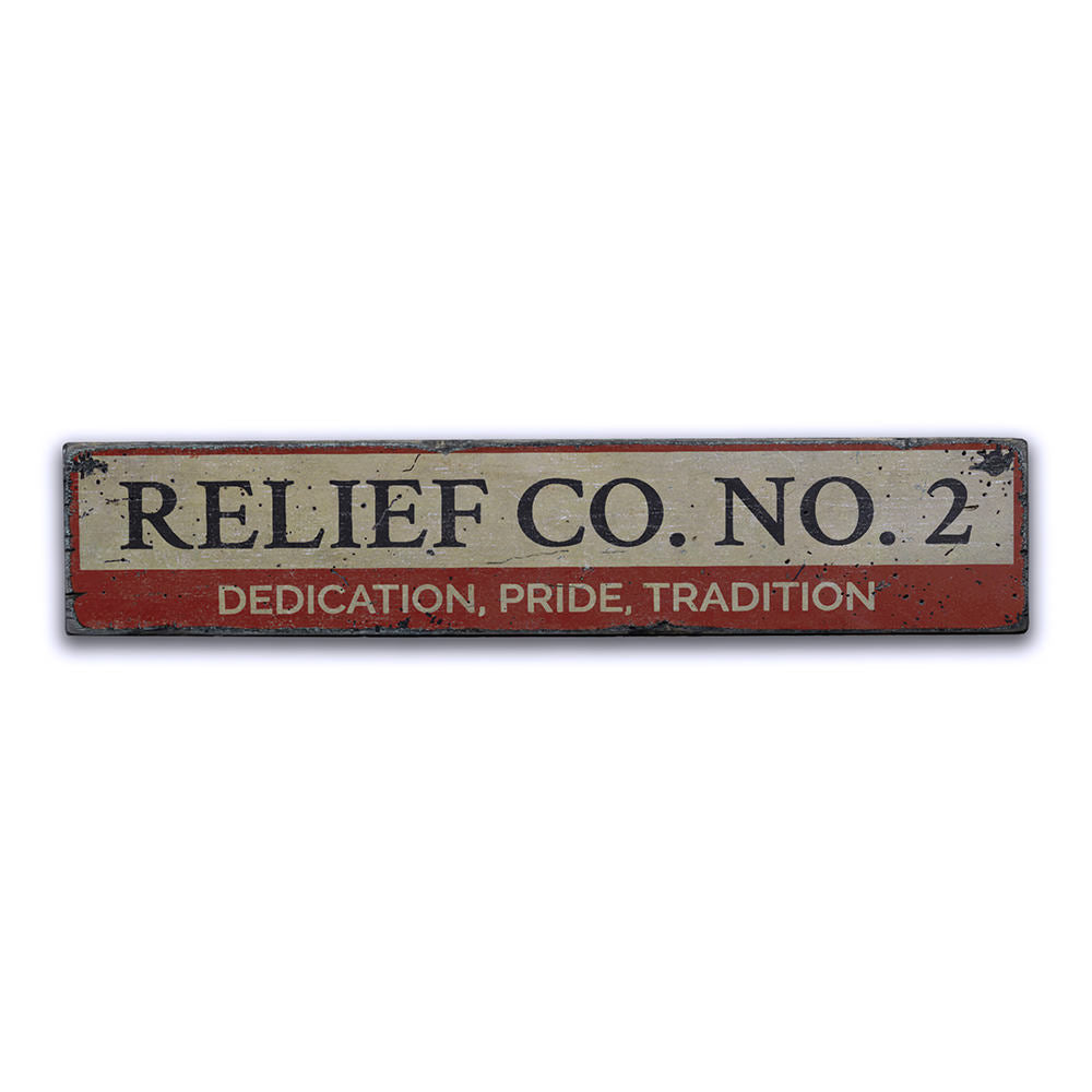 Firehouse Relief Company Vintage Wood Sign