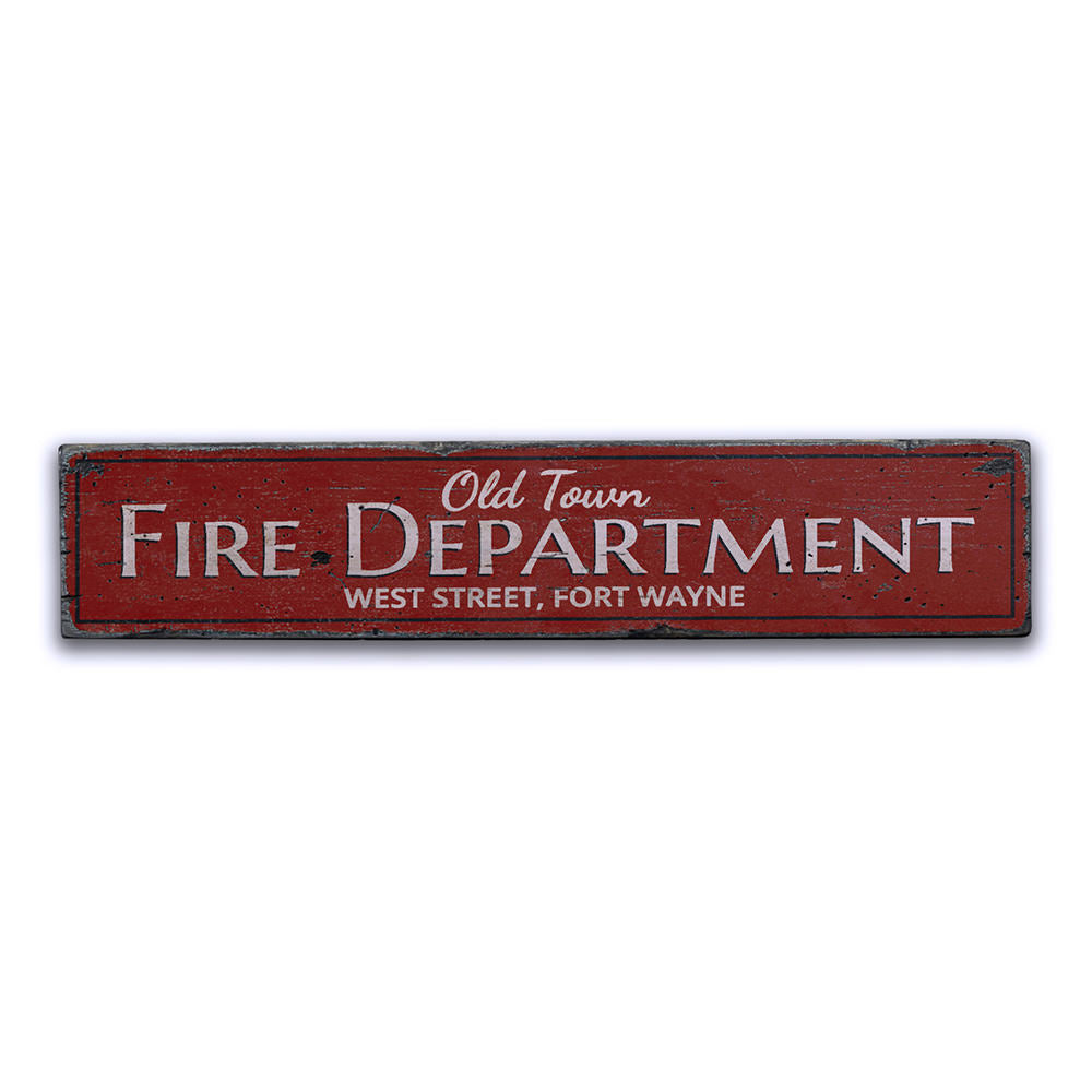 Old Town Fire Department Vintage Wood Sign
