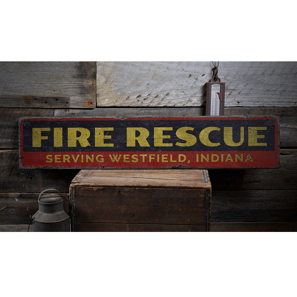 Fire Rescue Vintage Wood Sign