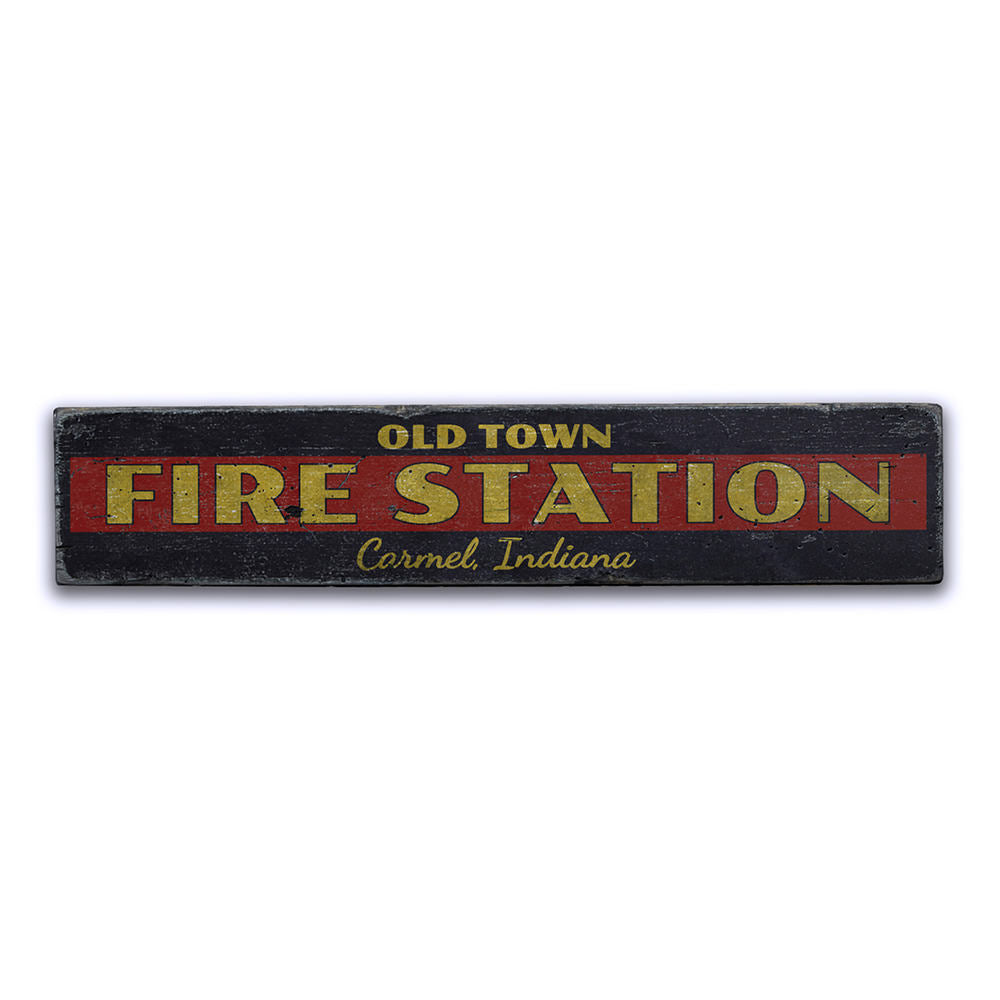 Old Town Fire Station Vintage Wood Sign