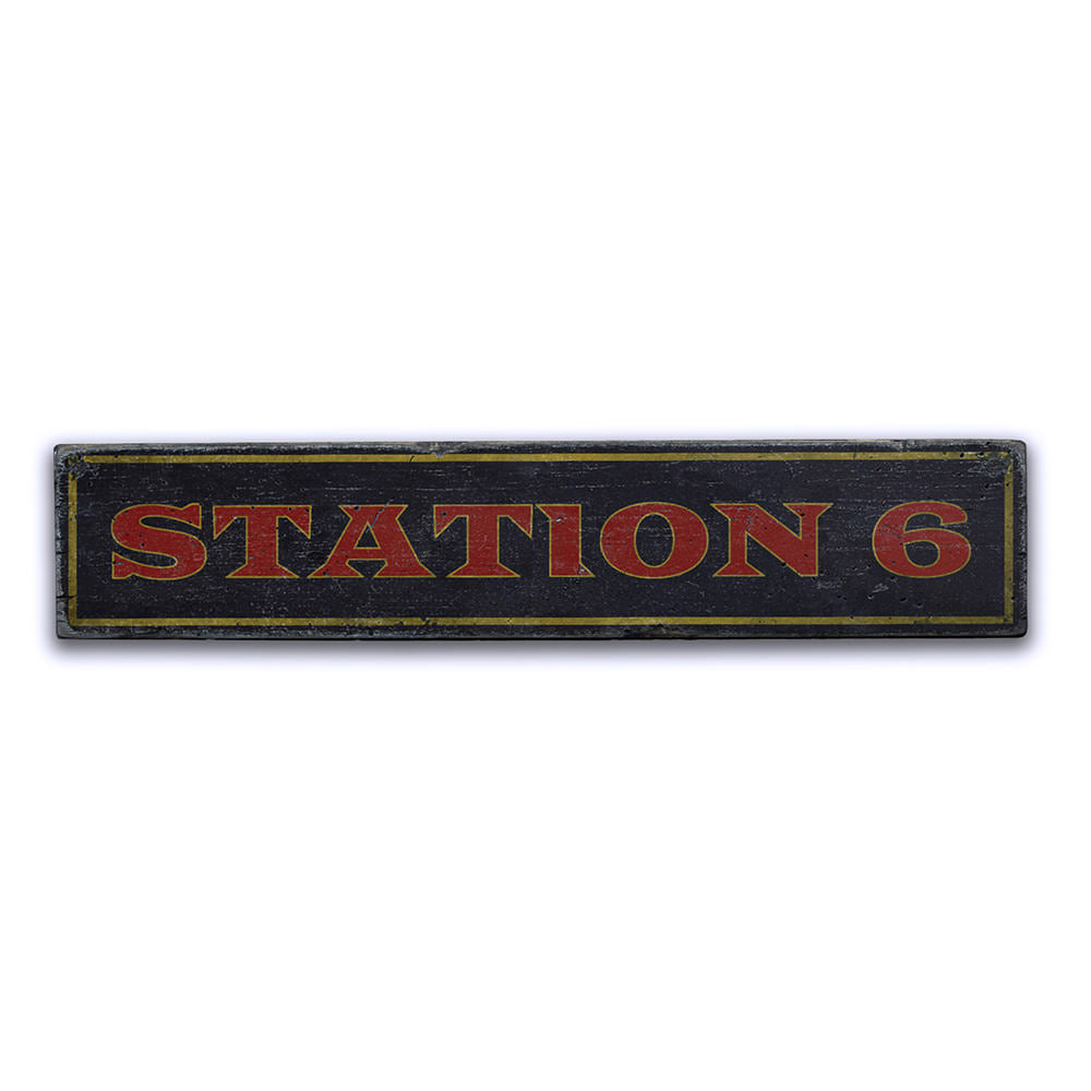 Station Number Vintage Wood Sign