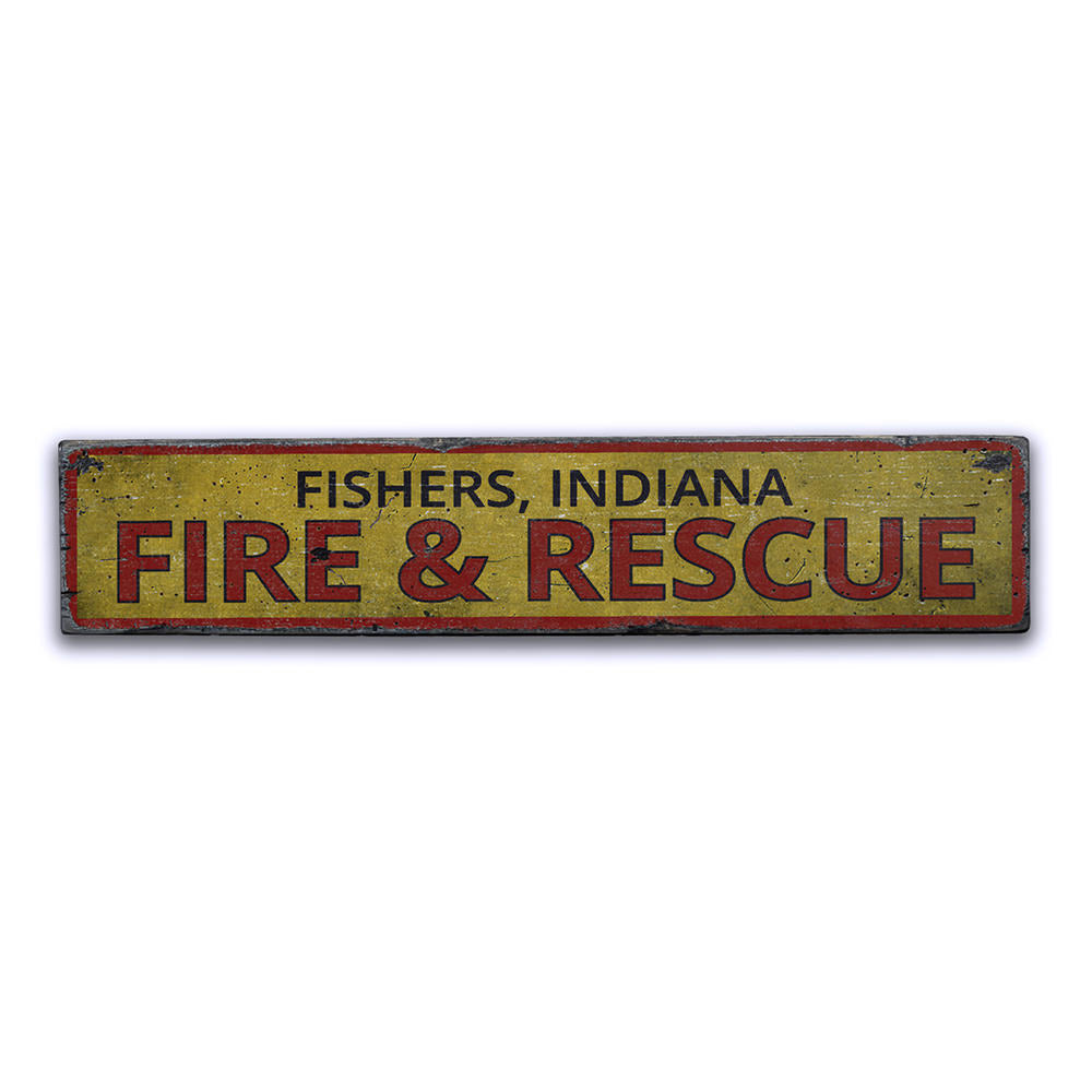 Fire & Rescue Location Vintage Wood Sign