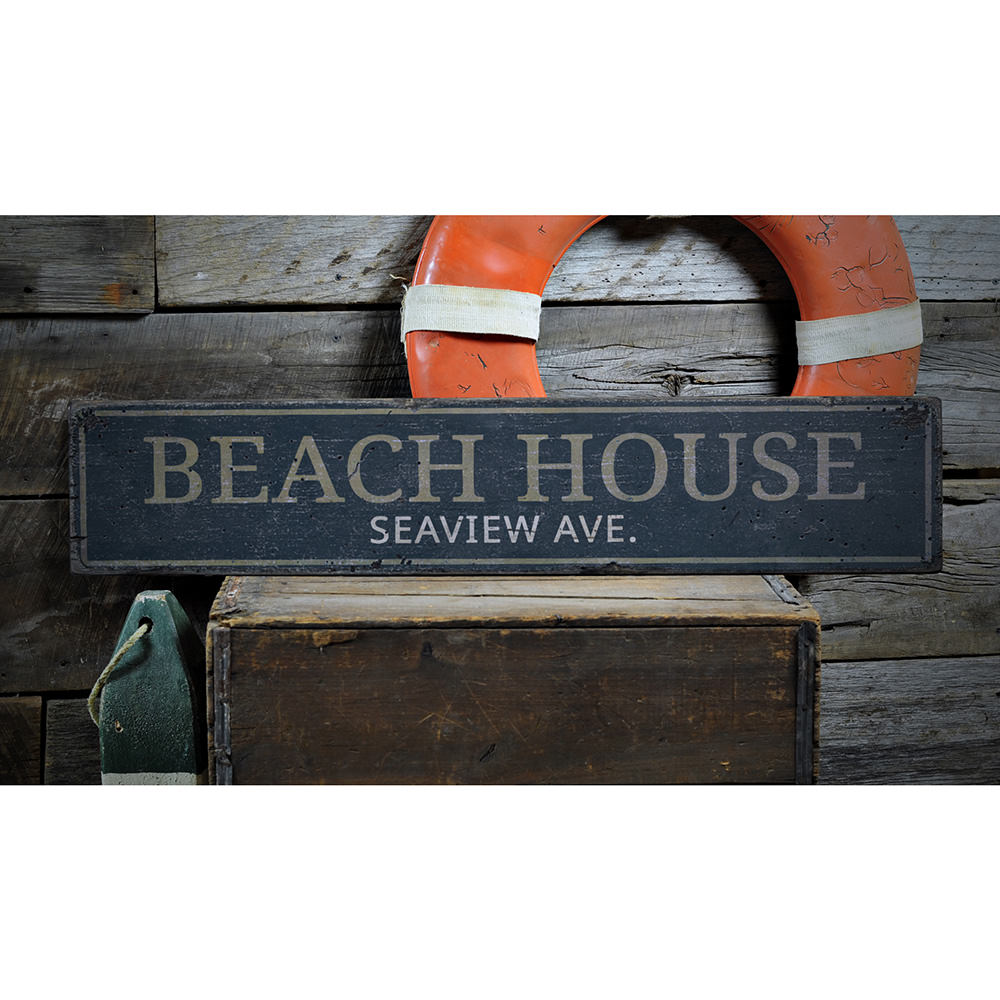 Beach House Street Name Vintage Wood Sign