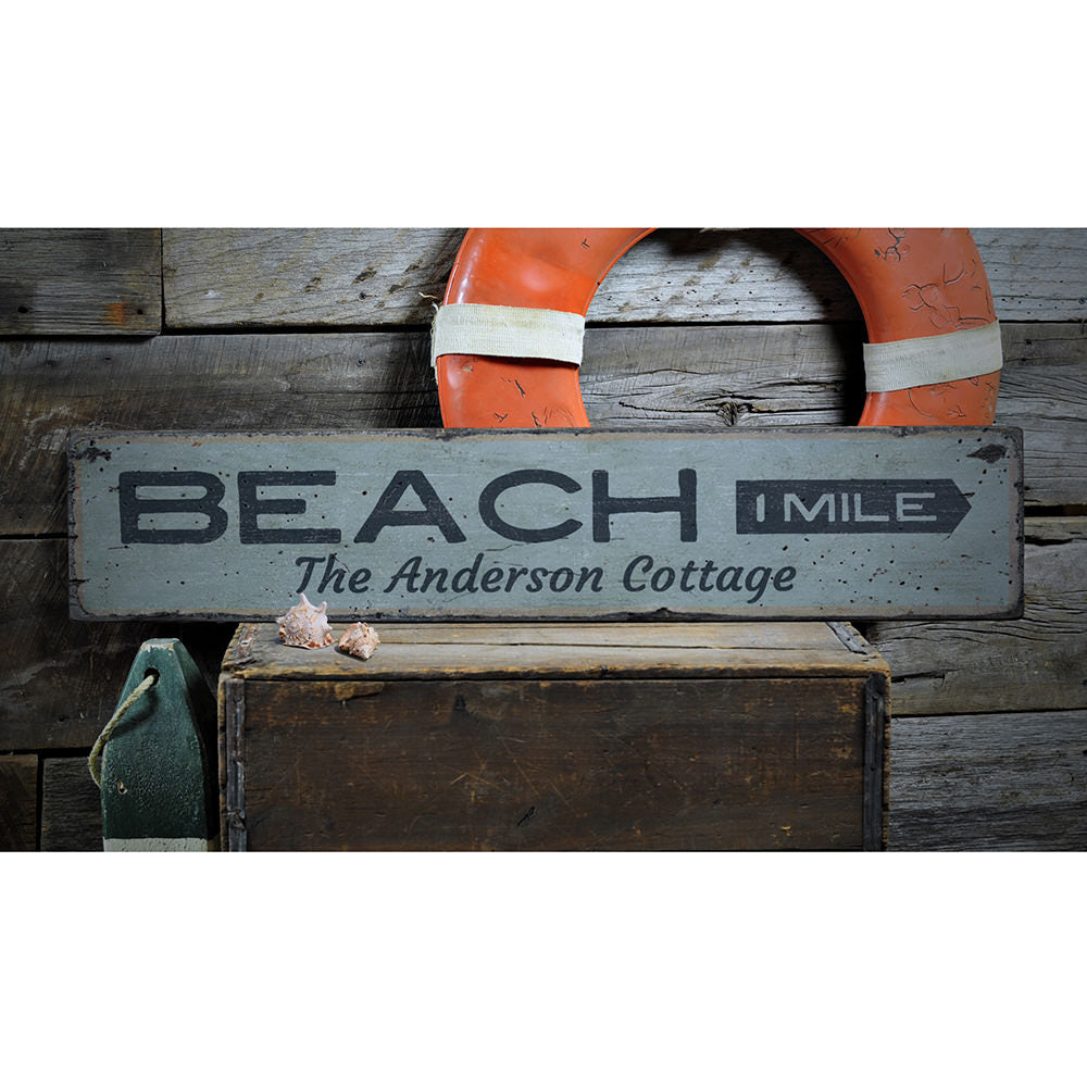 Beach Mileage Arrow Vintage Wood Sign