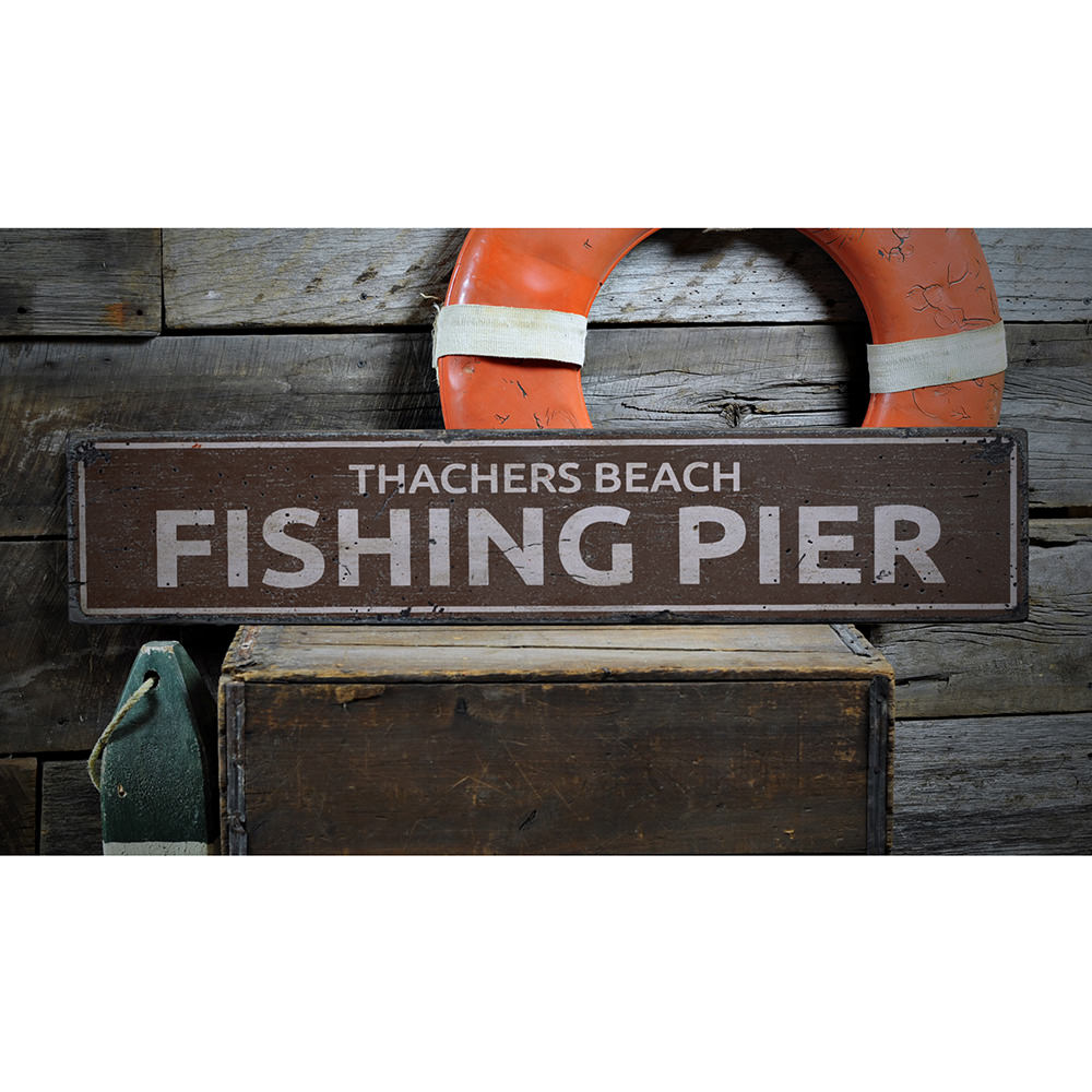 Fishing Pier Vintage Wood Sign