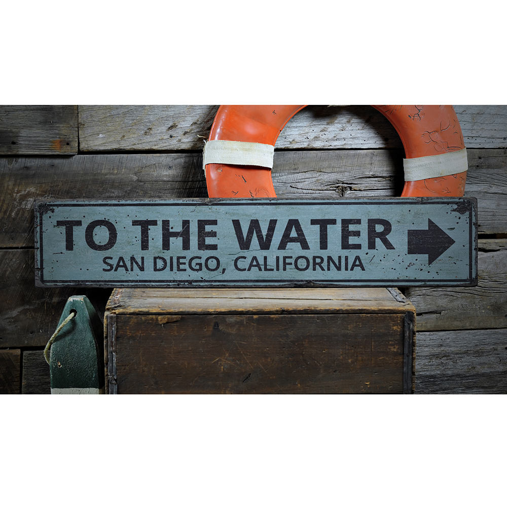 To the Water Arrow Vintage Wood Sign
