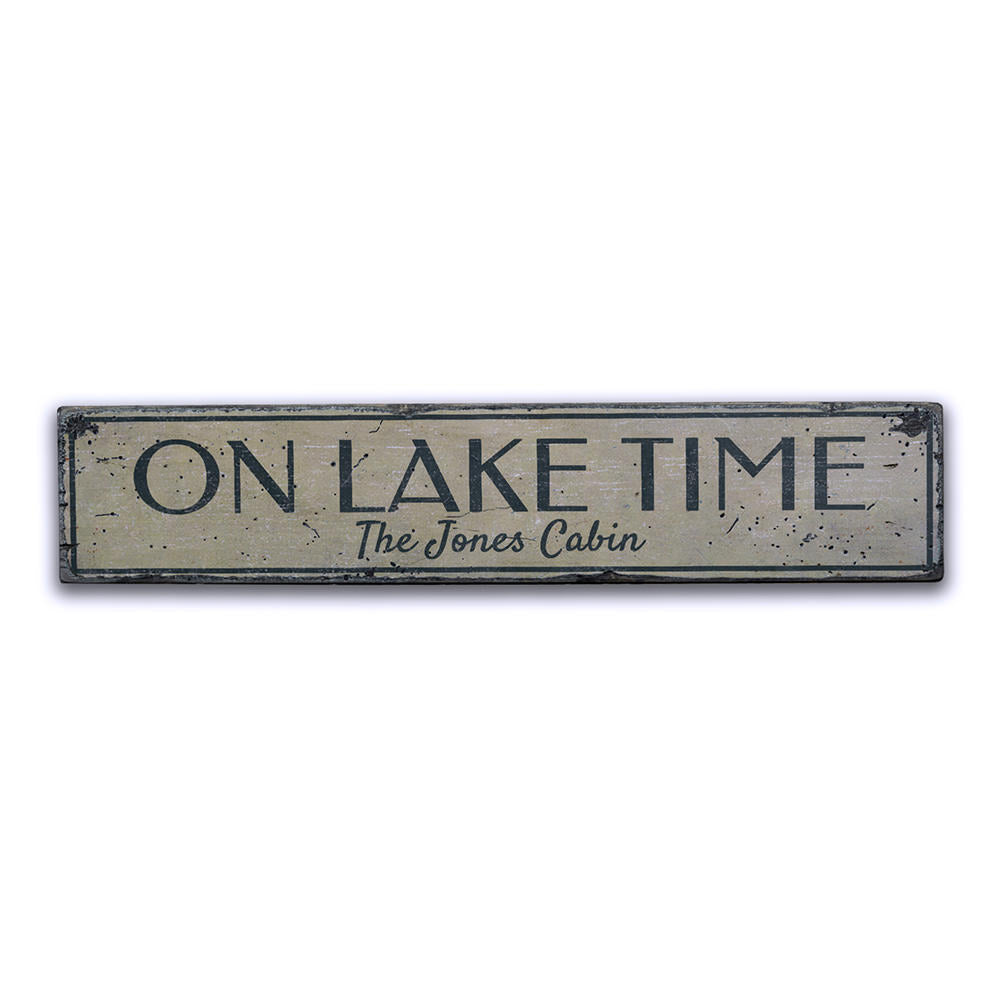 On Lake Time Vintage Wood Sign