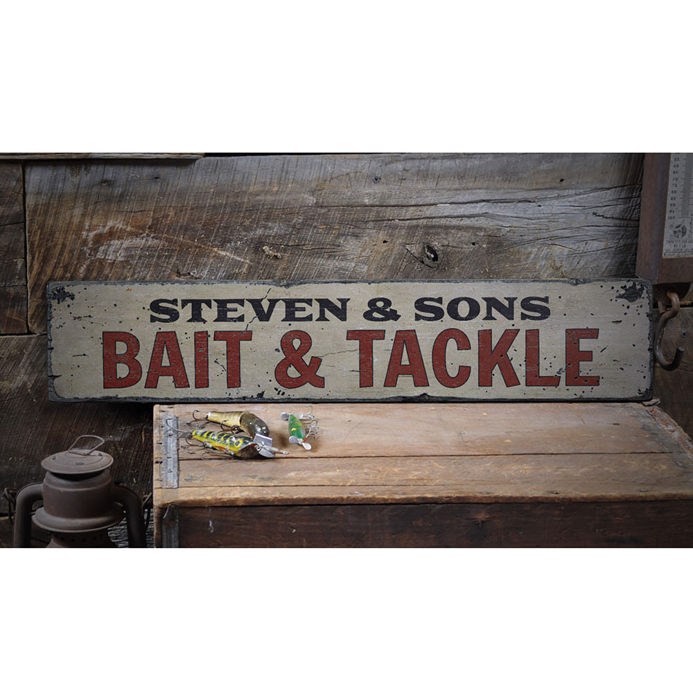 Bait & Tackle Vintage Wood Sign