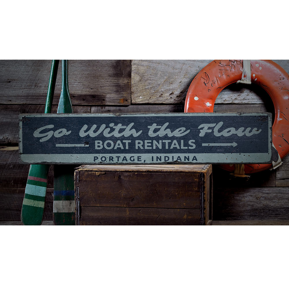 Go with the Flow Lake Vintage Wood Sign