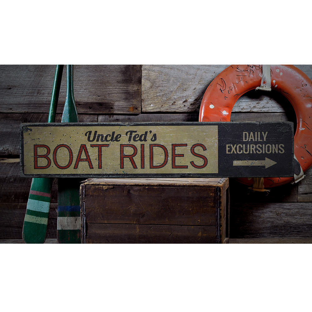Boat Rides Directional Vintage Wood Sign
