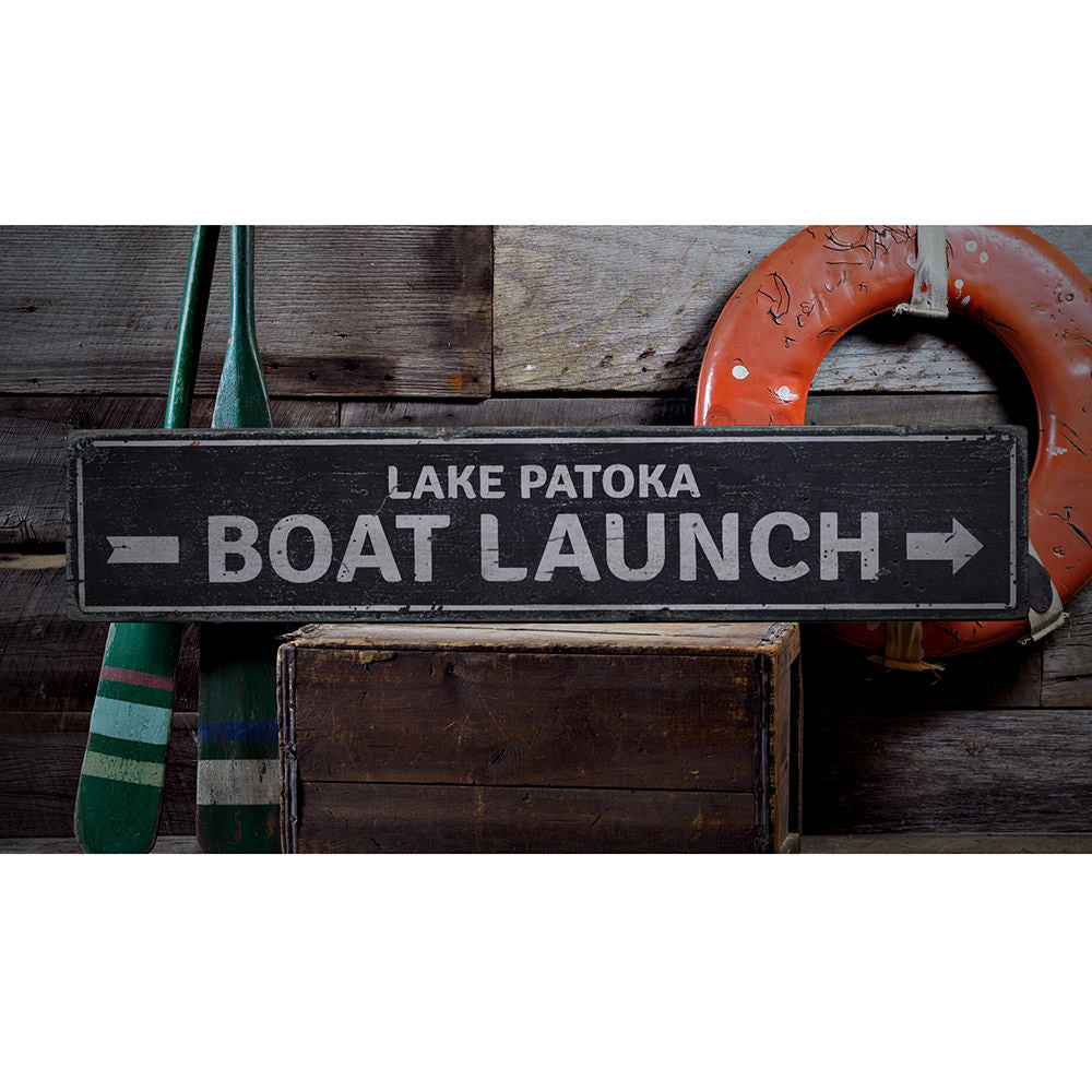 Boat Launch Arrow Vintage Wood Sign