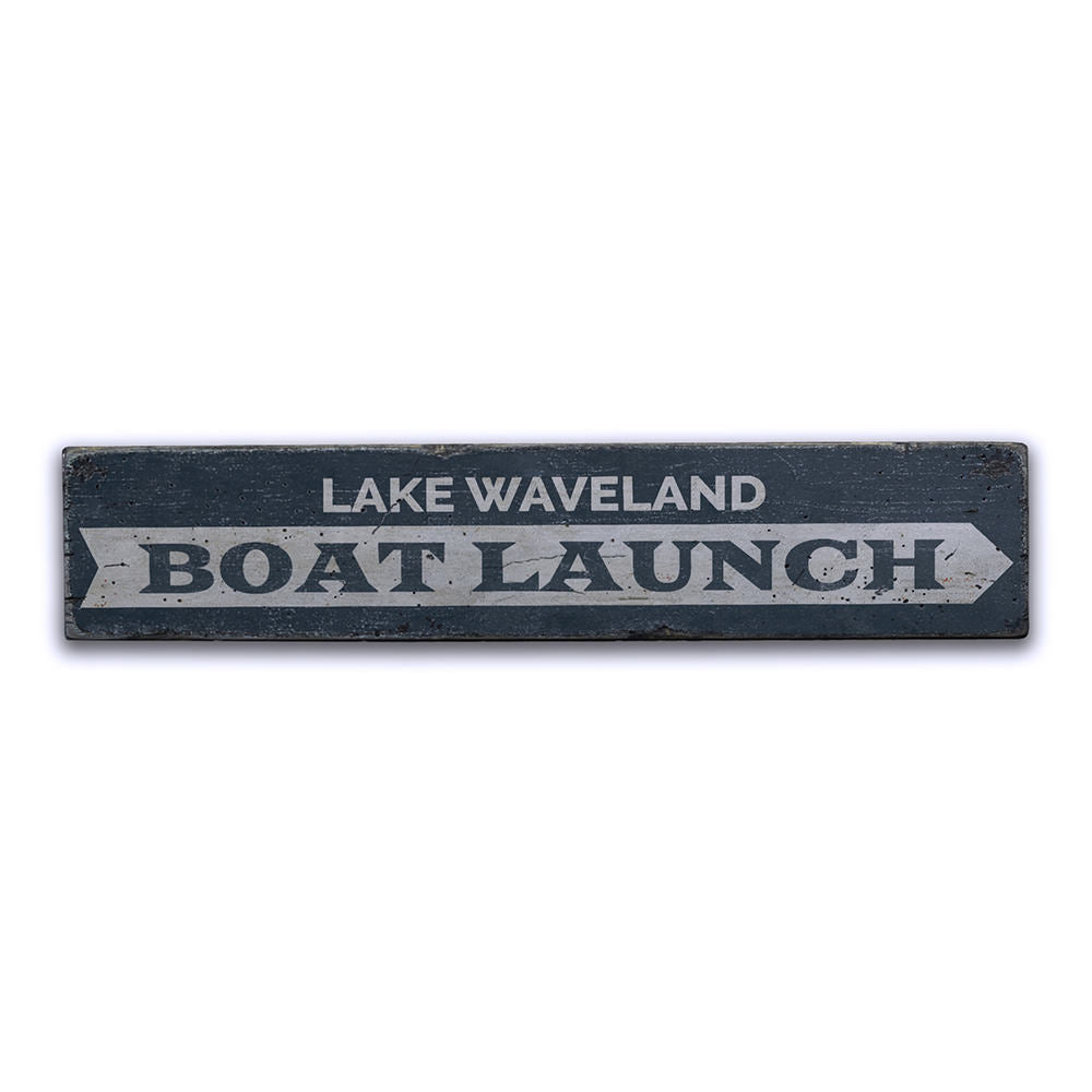 Boat Launch Vintage Wood Sign