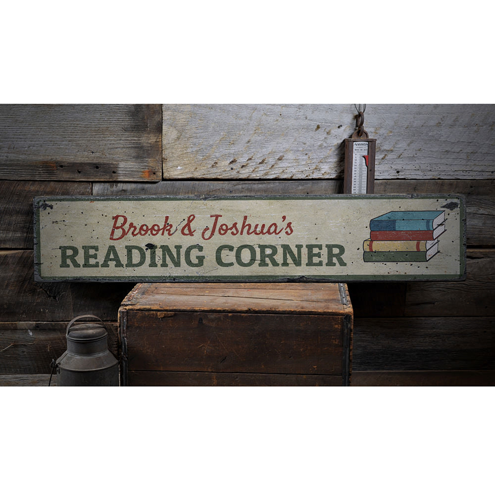 Reading Corner Vintage Wood Sign