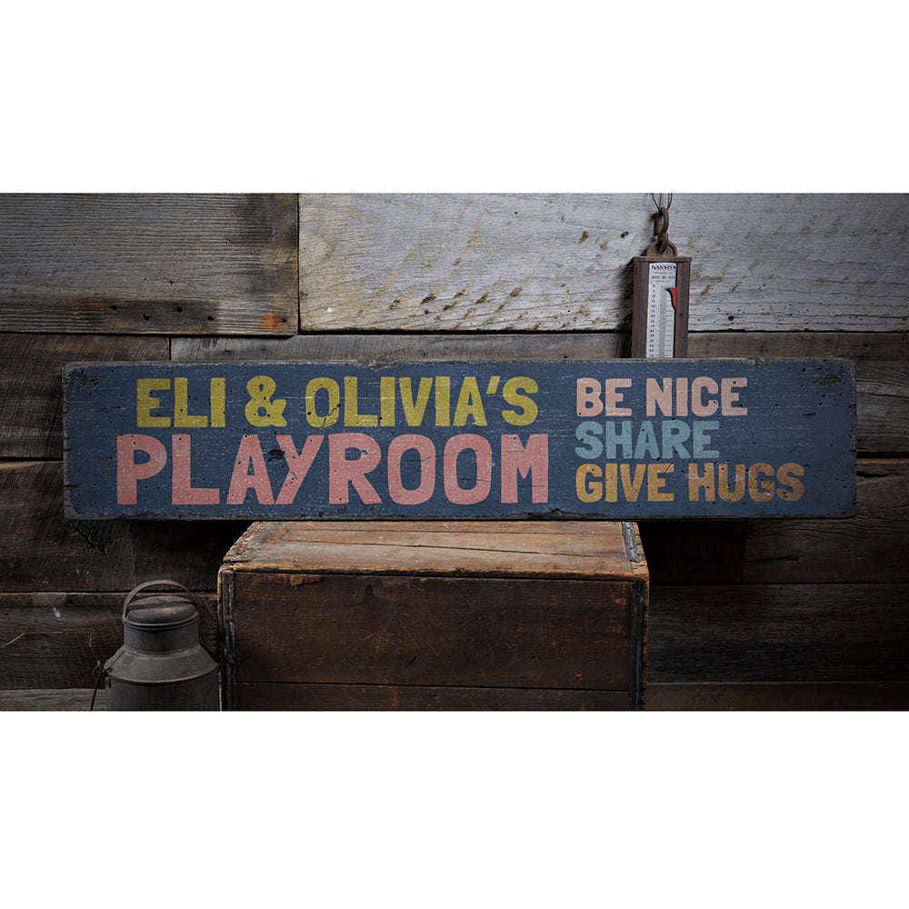 Playroom Vintage Wood Sign
