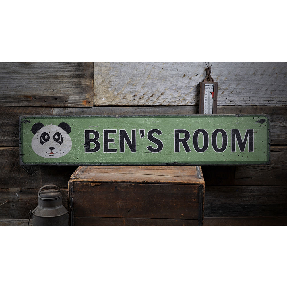 Panda Kids Room Vintage Wood Sign