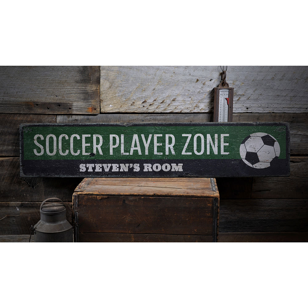 Soccer Player Zone Vintage Wood Sign