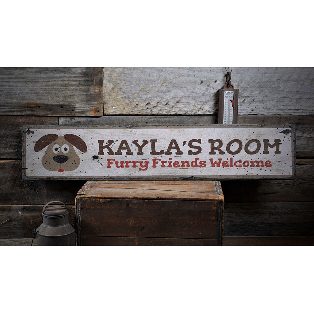 Puppy Kids Room Vintage Wood Sign