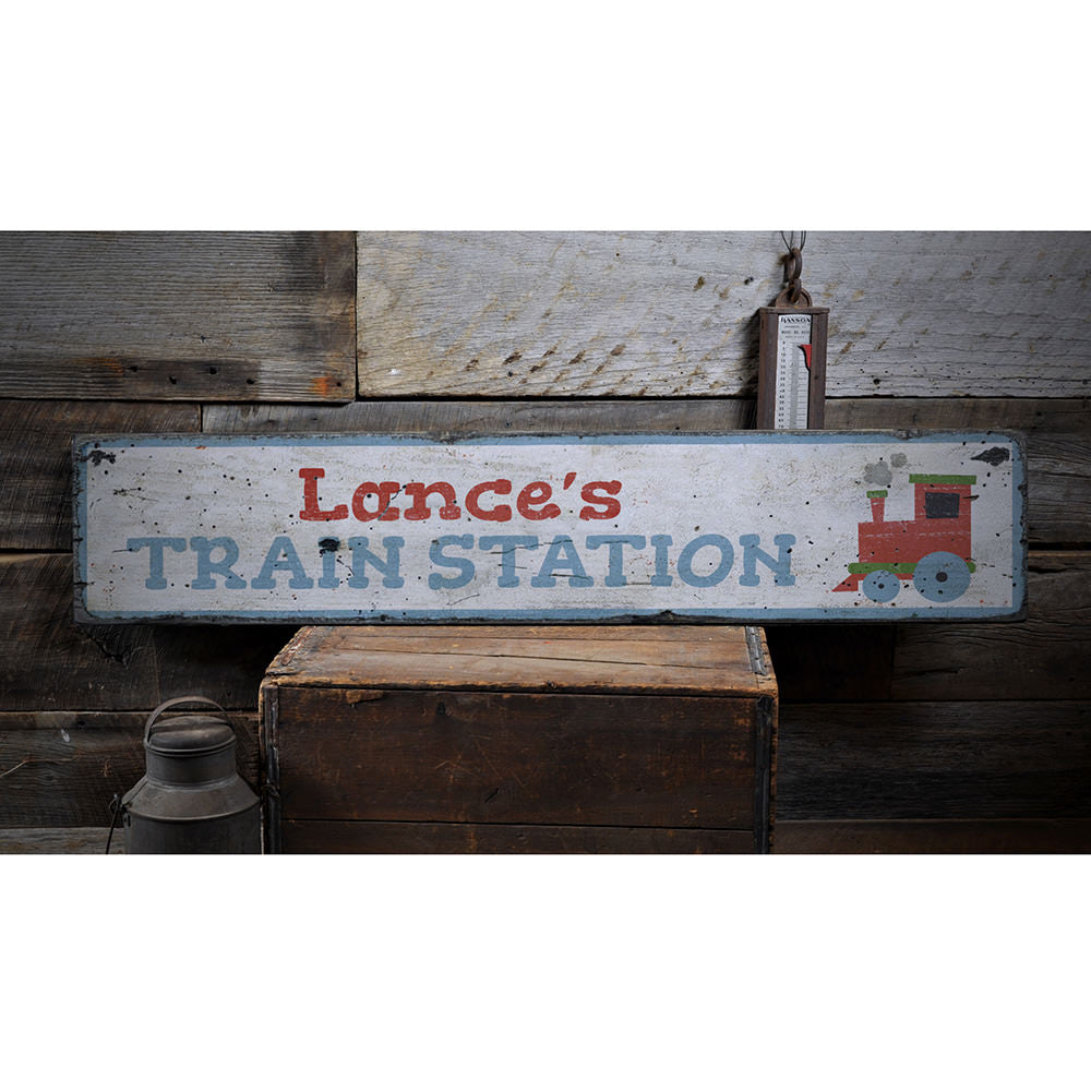 Train Station Kids Room Vintage Wood Sign