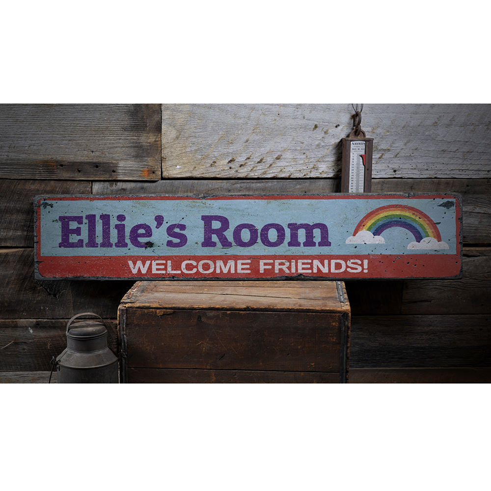 Rainbow Welcome Friends Vintage Wood Sign