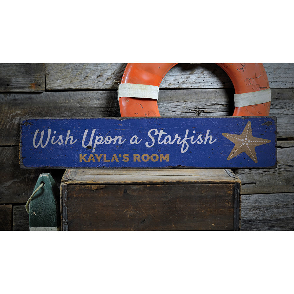 Wish Upon A Starfish Vintage Wood Sign