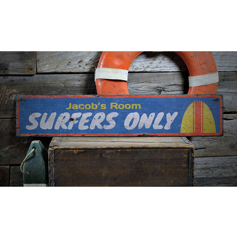 Surfers Only Kids Room Vintage Wood Sign