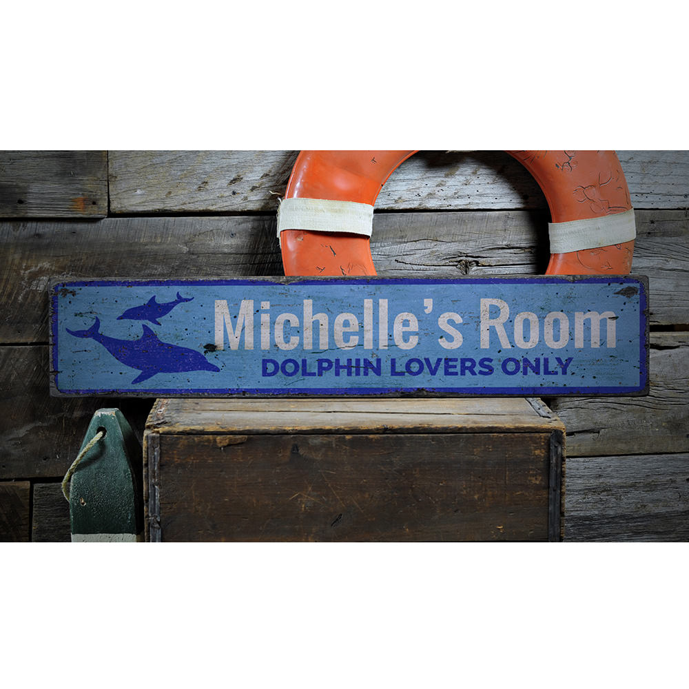 Dolphin Vintage Wood Sign