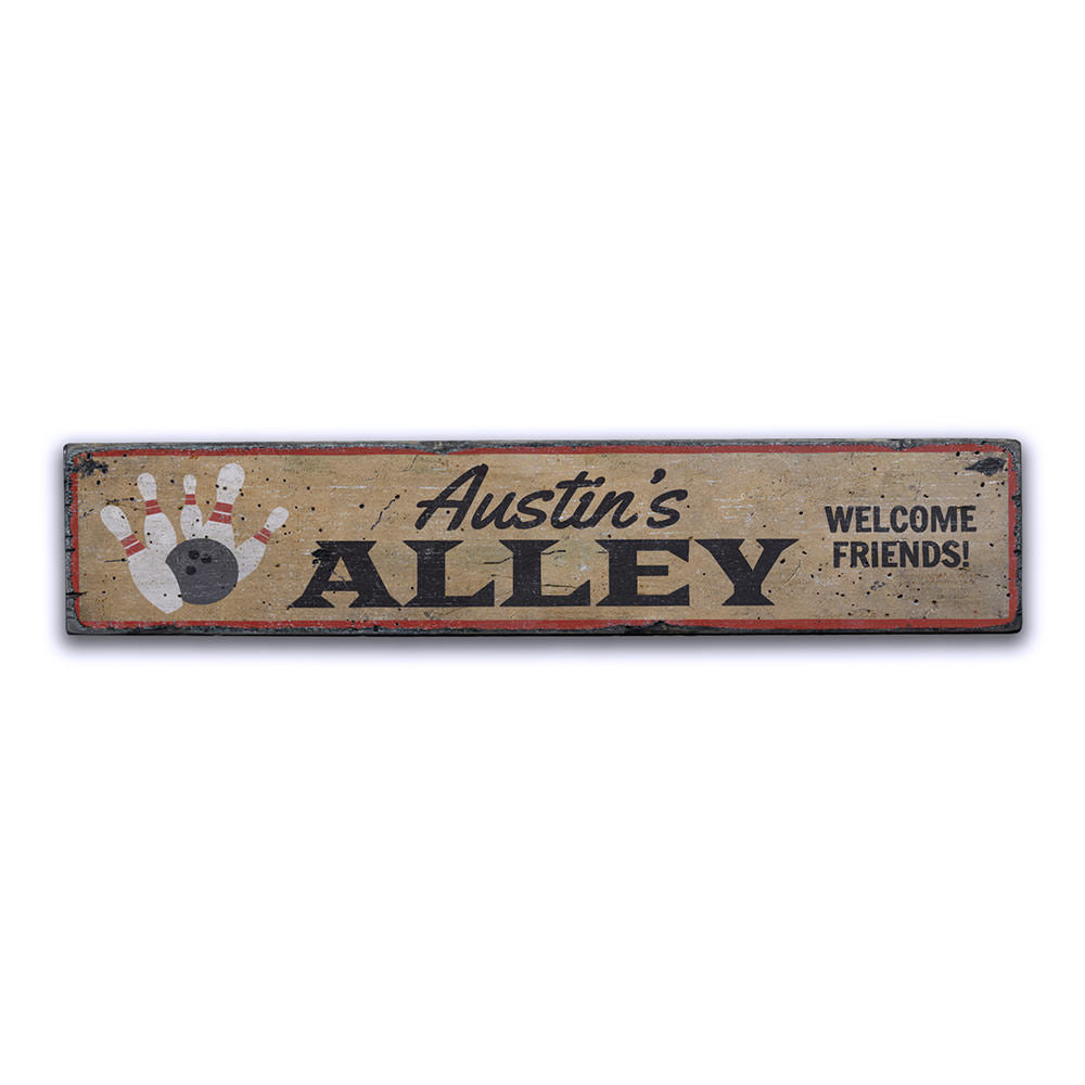Bowling Alley Name Vintage Wood Sign