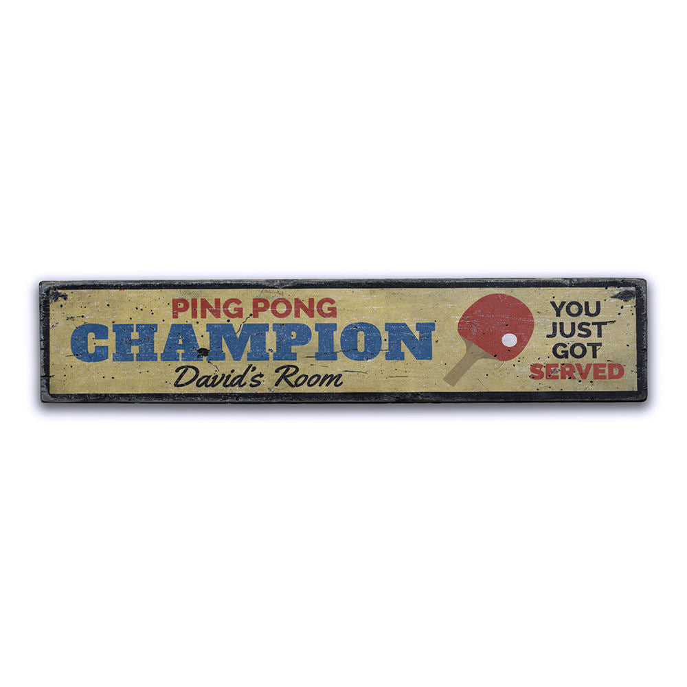 Ping Pong Champion Vintage Wood Sign