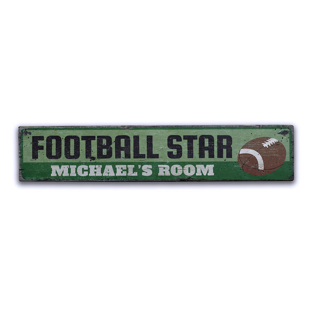 Football Player Vintage Wood Sign