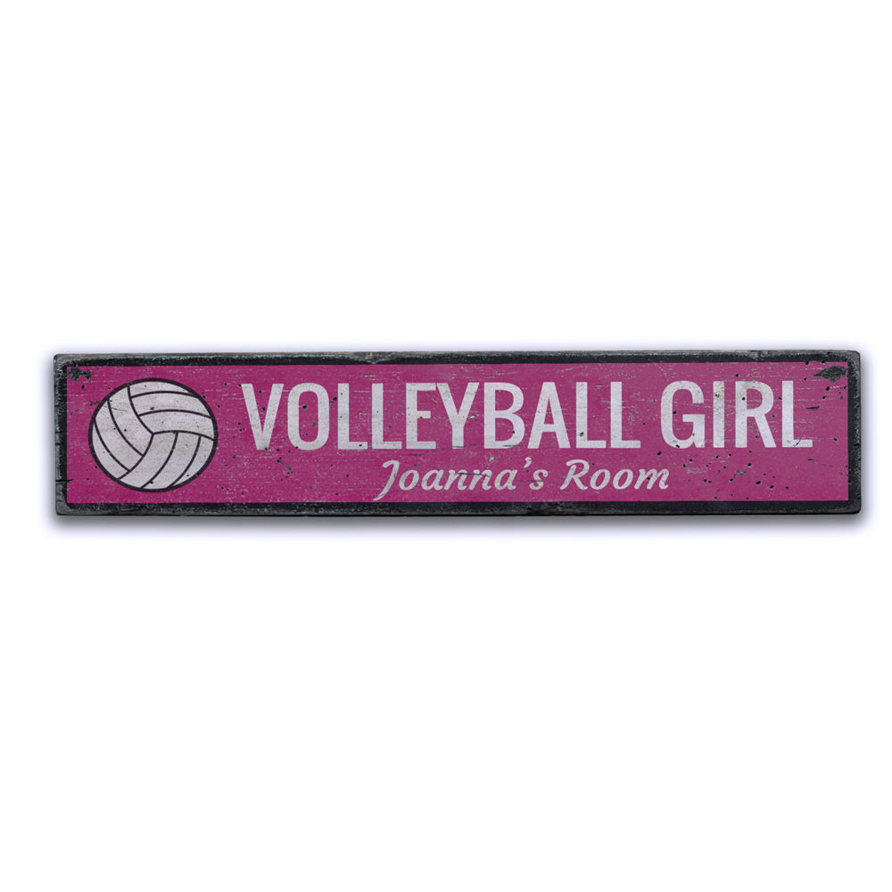 Volleyball Girl Vintage Wood Sign