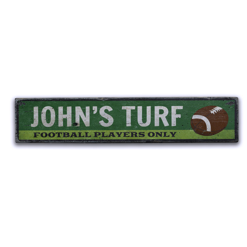 Football Players Only Turf Vintage Wood Sign