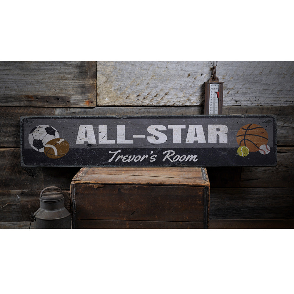 All Star Sports Vintage Wood Sign