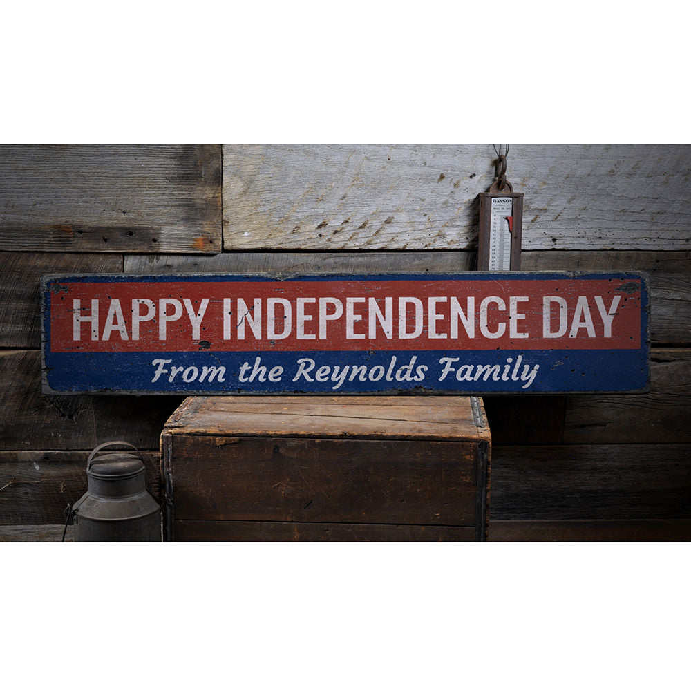 Happy Independence Day Vintage Wood Sign